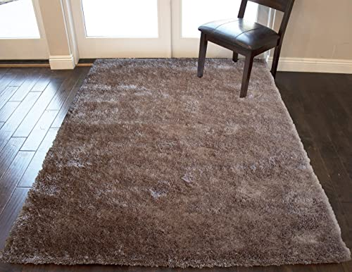 Solid Plush Shag Shaggy Beige Tan Two Tone Color 5×7 Feet Fuzzy Furry Area Rug Carpet Rug Modern Contemporary Decorative Designer Indoor Office Bedroom Living Room Hand Woven Non Slip Backing