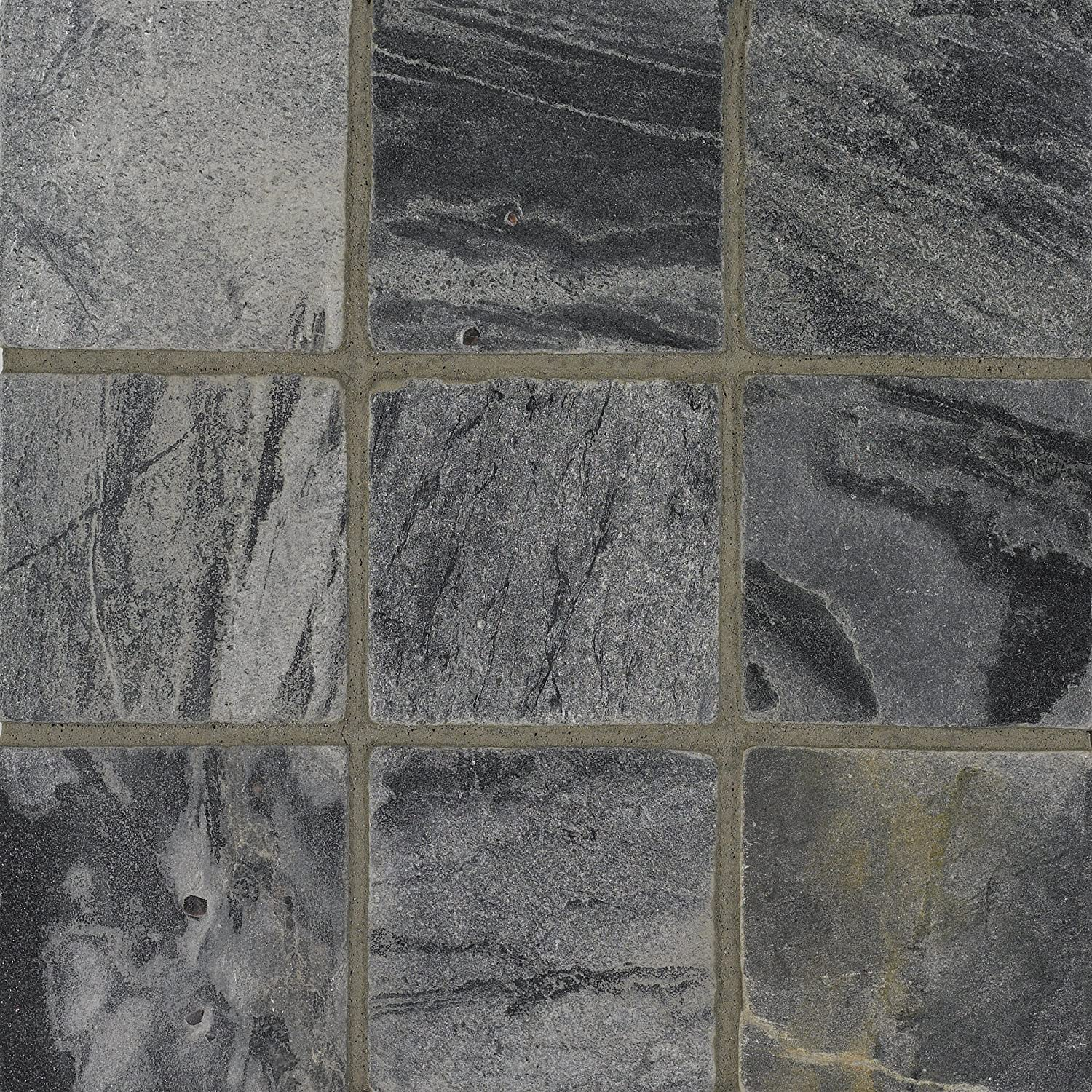 Arizona Tile 4 by 4-Inch Tumbled Quartzite Tile, Ostrich Grey, 6 ...