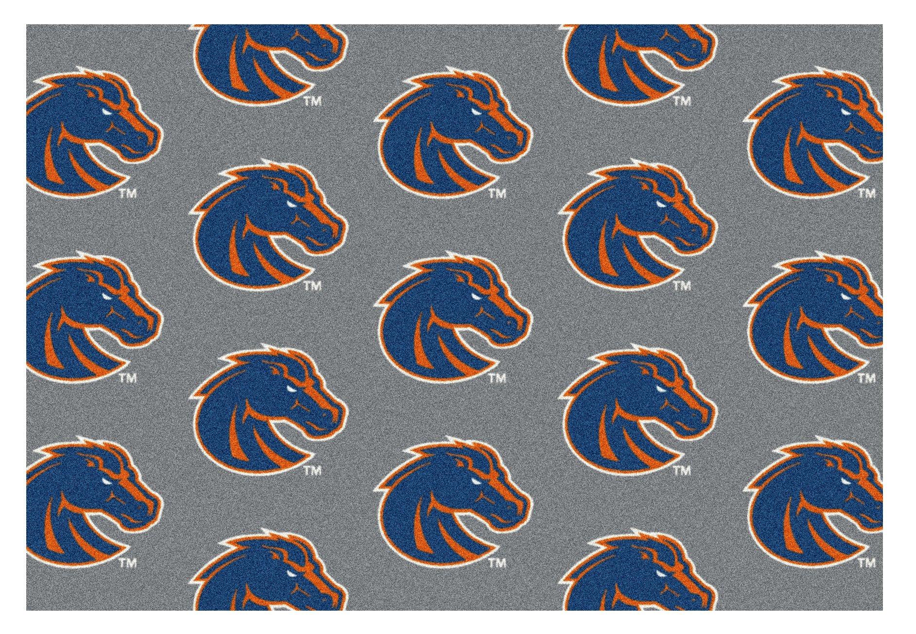 5'x8' BOISE STATE- Milliken NCAA College Sports Team Repeat Logo 100% Nylon Pile Fiber Broadloom Custom Area Rug Carpet with Premium Bound Edges by Koeckritz