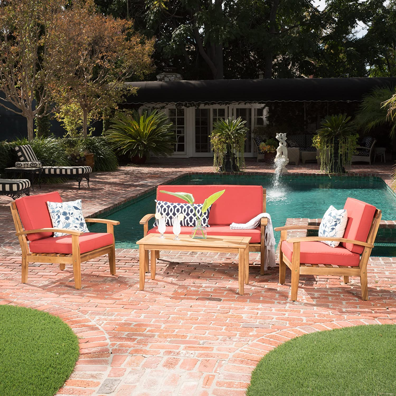 Christopher Knight Home 299106 Preston 4 Piece Wood Outdoor Patio Seating Chat Set w Red Cushions