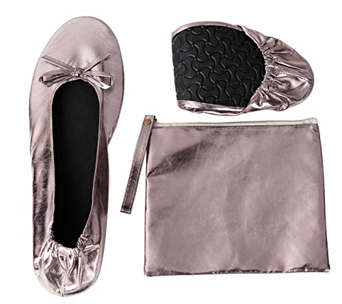 23022f6f7 Foldable Ballet Flats - Women's Portable Ballerina Roll up Shoes with  Pouch, Metallic Grey,