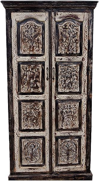 Guru Shop Kleiderschrank Aus Holz Mit Schnitzereien Antikweiß/schwarz, Antik  Weiß,