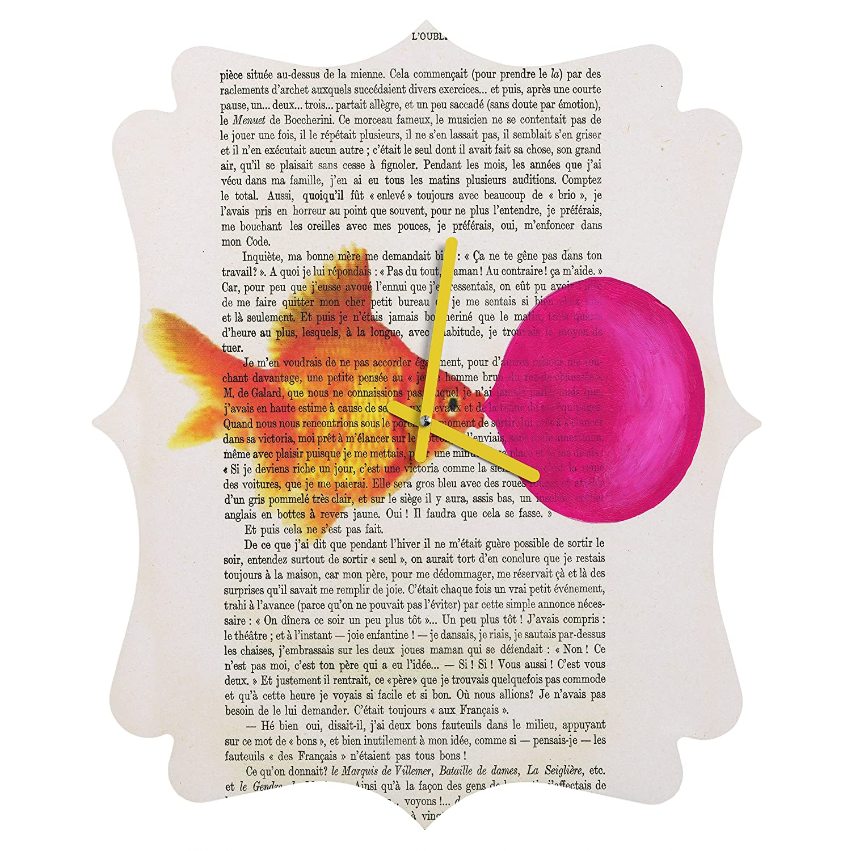 12 12 39349-roucls Round Clock Rabbits with Bubblegum 1 Round Deny Designs Coco De Paris