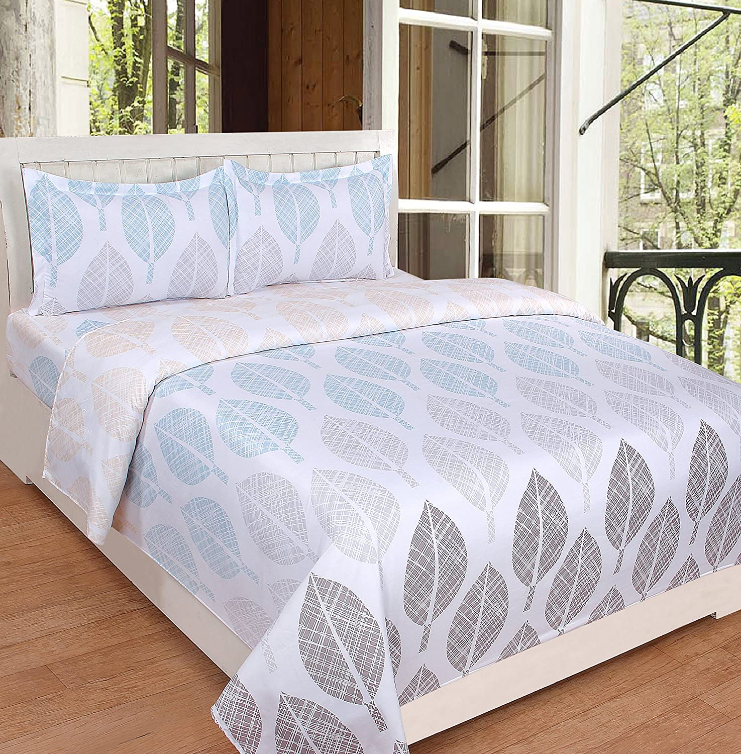 e5092d31adff Grapes Flow Cotton Feel Bed Sheet Set for Double Bed with 2 Pillow Covers  by Kind Bliss - Designer Printed