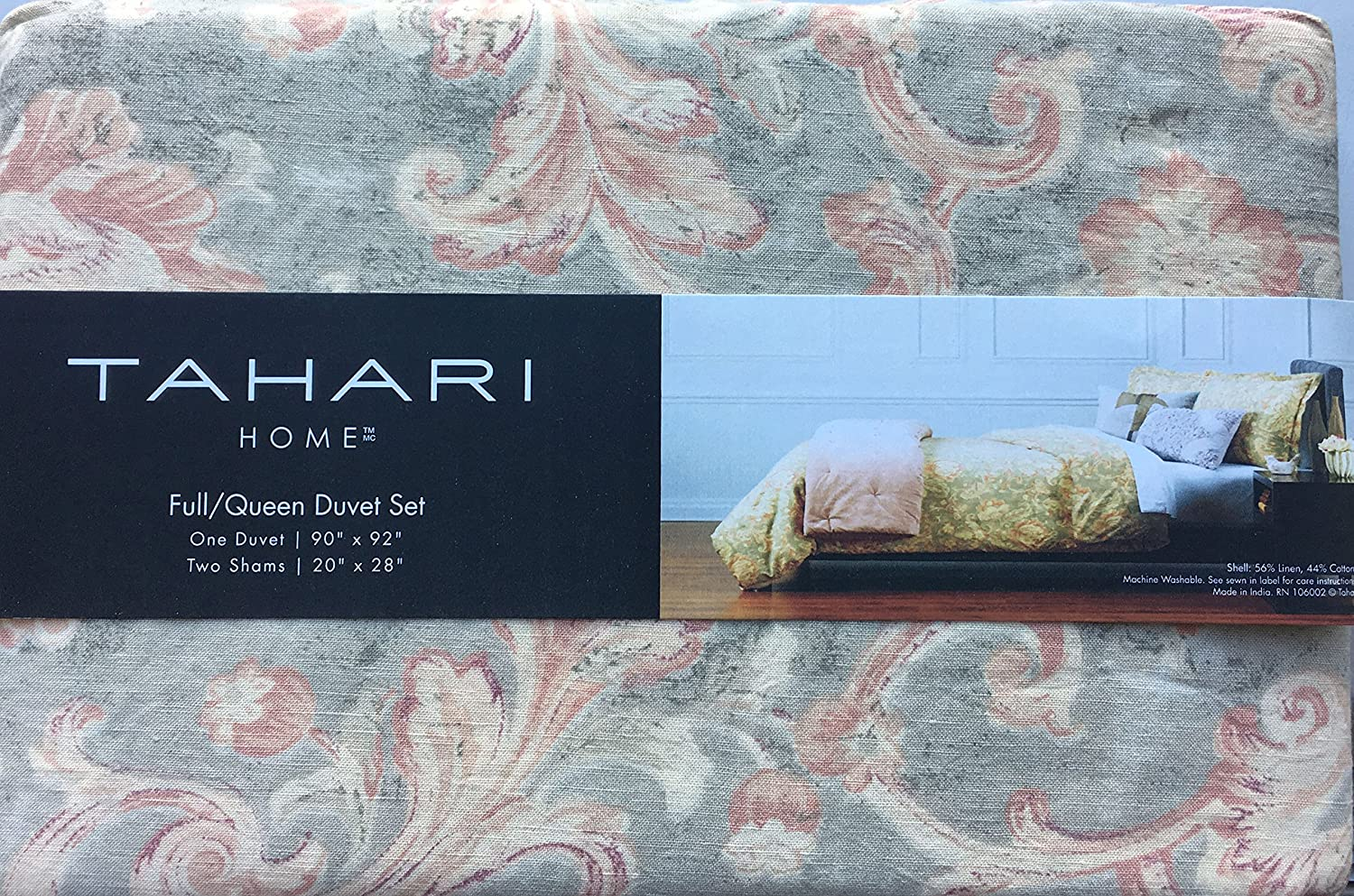 Tahari Bedding 3 Piece Full Queen Size Luxury Linen Cotton Blend Duvet Cover Set Damask Floral Pattern in Shades of Yellow and Pink on a Light Greenish Gray Background