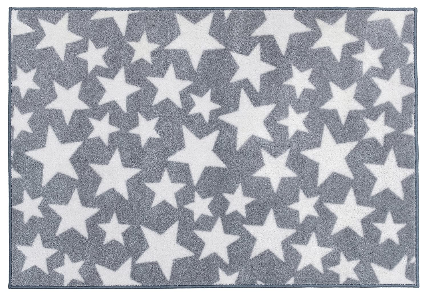 Grey with White Stars Kit for Kids Nursery Rug