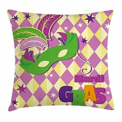Mardi Gras manta almohada Funda de cojín por Ambesonne, patrón a cuadros con estrellas gráfico