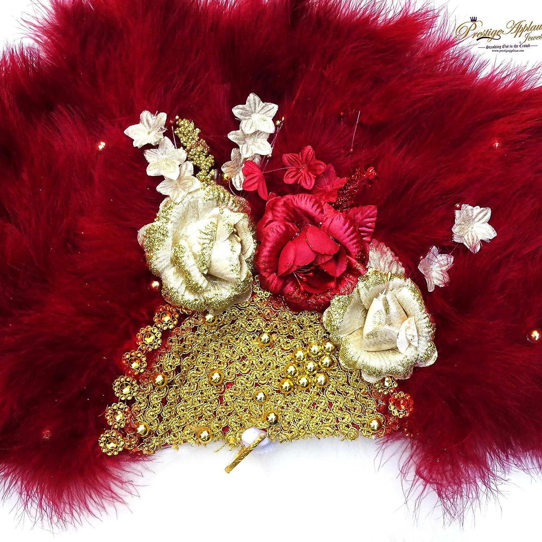 ideale per matrimonio tradizionale in stile africano rosso Splendido ventaglio piumato con dettagli bianco e color pesca disponibile in blu reale
