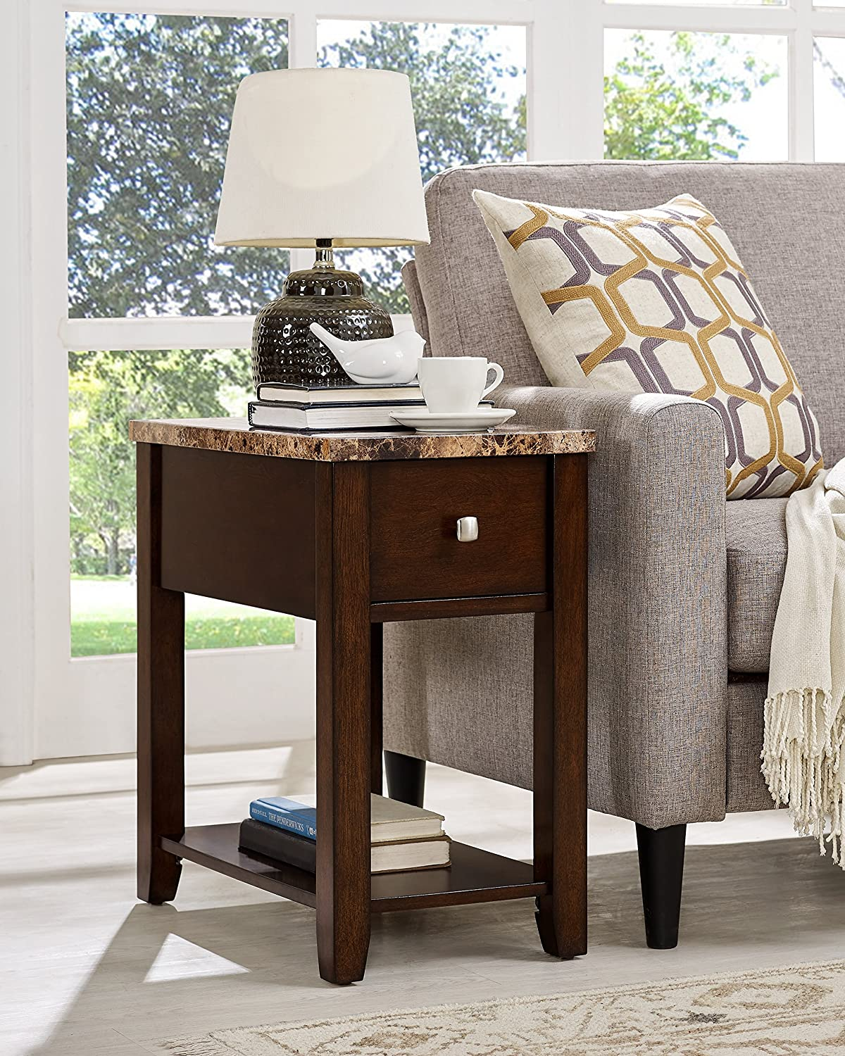 Roundhill Furniture Chair/End Table, Oak Finish 3300OAK