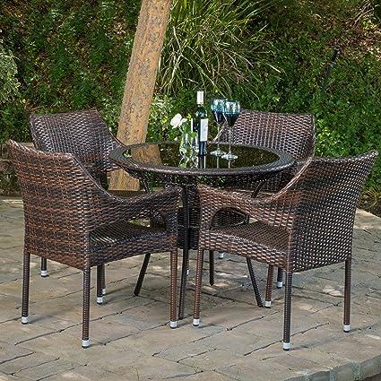 Del Mar Outdoor Multibrown Wicker 5pc Dining Set - Amazon.com: Del Mar Outdoor Multibrown Wicker 5pc Dining Set: Garden