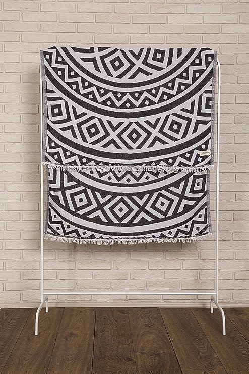 Bersuse 100% Algodón - Venice Toalla Turca - De doble capa - Fouta Peshtemal para Baño en la Playa - Pestemal de Diseño Mandala Mano - 100X180 cm, ...