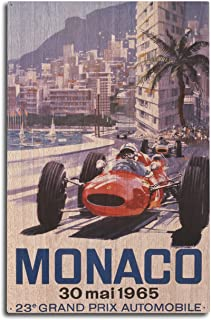 product image for Lantern Press France - Monaco - 23e Grand Prix Automobile - (Artist: Turner c. 1965) - Vintage Advertisement (10x15 Wood Wall Sign, Wall Decor Ready to Hang)