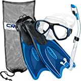 Cressi Palau Long Fins, Focus Mask, Dry Snorkel, Snorkeling Gear Package …