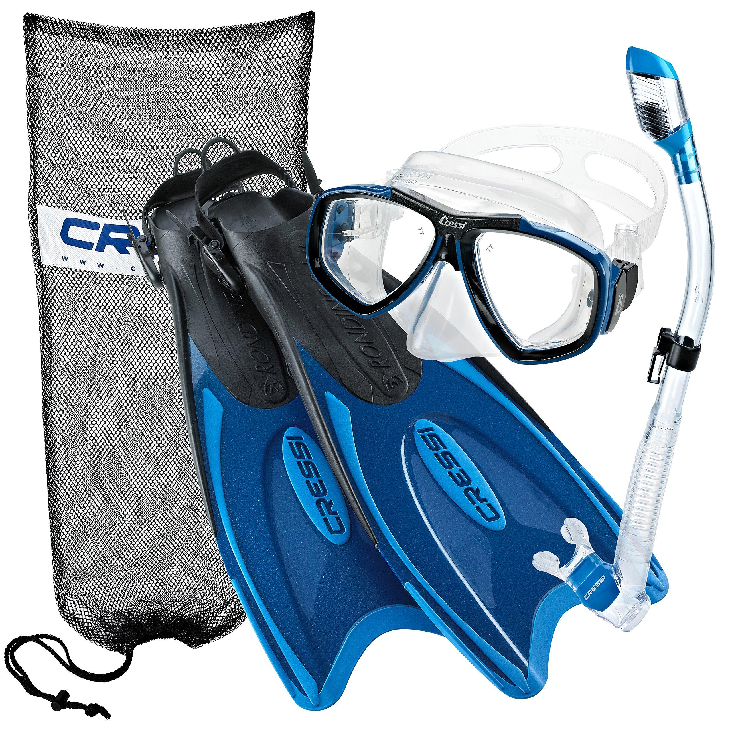 Cressi Palau Long Fins, Focus Mask, Dry Snorkel, Snorkeling Gear Package, Blue-Large/X-Large