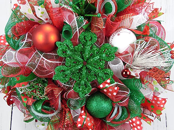 snowflake wreath red and green snowflake wreath red green white christmas wreath holiday