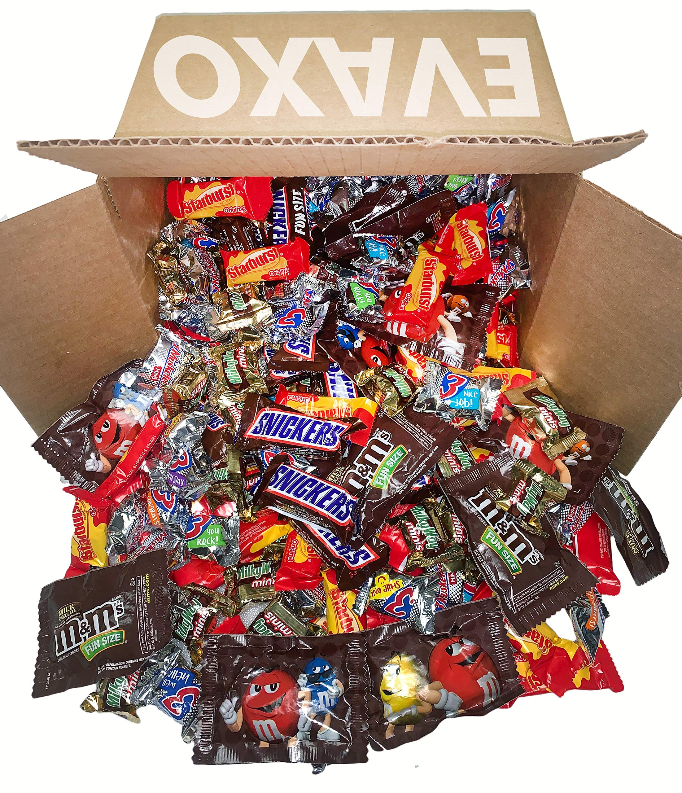 Halloween Fun Size Candy Includes: Three Musketeers, Milky Way, Starburst, Snickers, M&M's Great for the holidays 290 ct. by evaxo