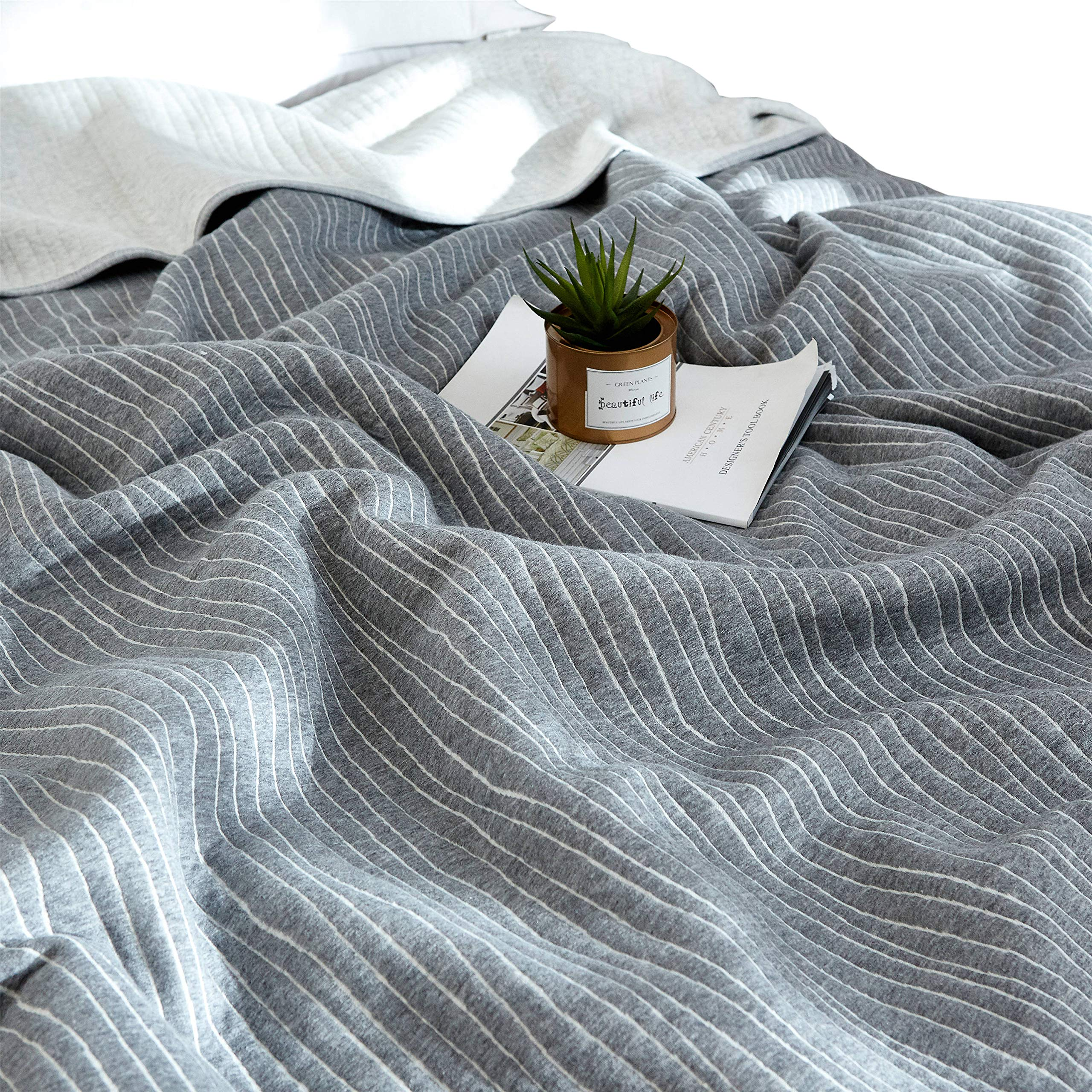 J-pinno Grey Stripes Jersey Cotton Cozy Quilt Reversible Throw Blanket Bedspread Bedding Coverlet for Kids Teen Boys Bed Gift (2, Twin 59'' X 78'')
