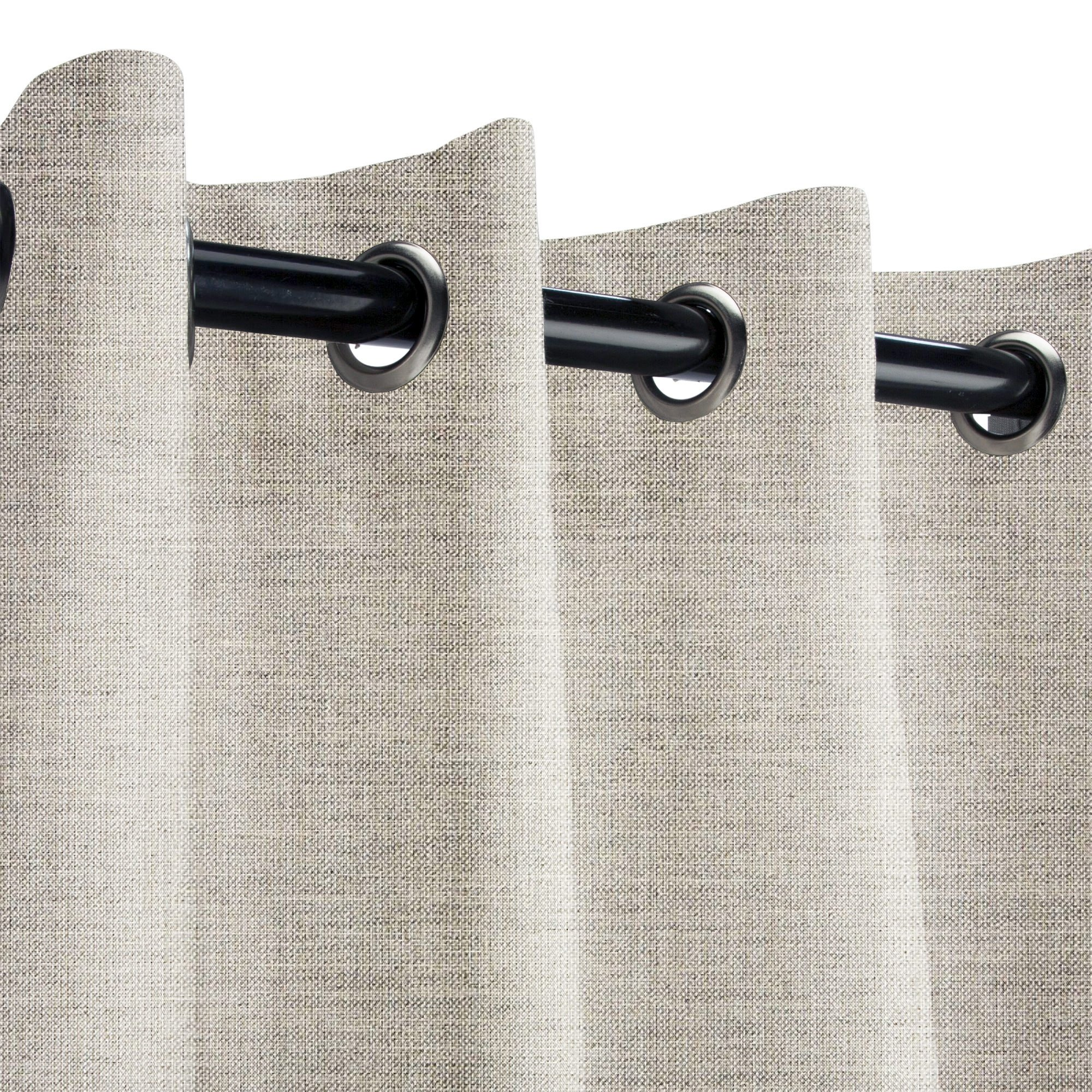Sunbrella Cast Silver Outdoor Curtain with Nickel Grommets 50 in. Wide x 84 in. Long