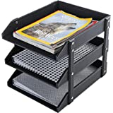3 Tier Leatherette Desktop Document Organizer Trays, File Folder Storage Rack, Black