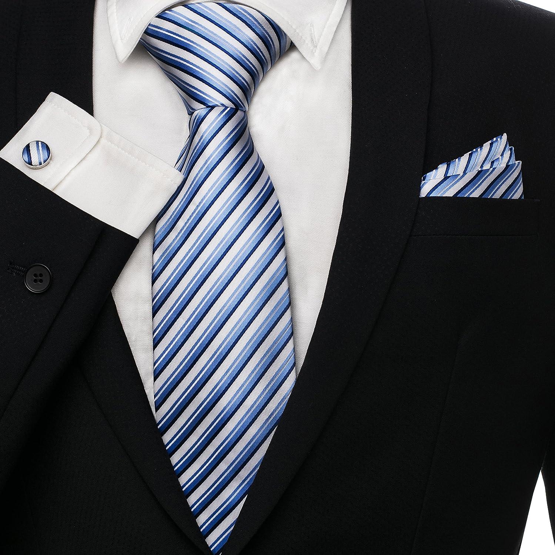HOYAYO Men's Neckties Upscale Business Tie, Cufflinks, Pocket Square Gift Set