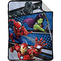 Marvel Avengers Fight Club Flannel Sherpa Blanket - Measures 60 x 80 inches, Kids Bedding Featuring Black Panther, Spiderman, & Iron Man - Fade Resistant Super Soft - (Official Marvel Product)