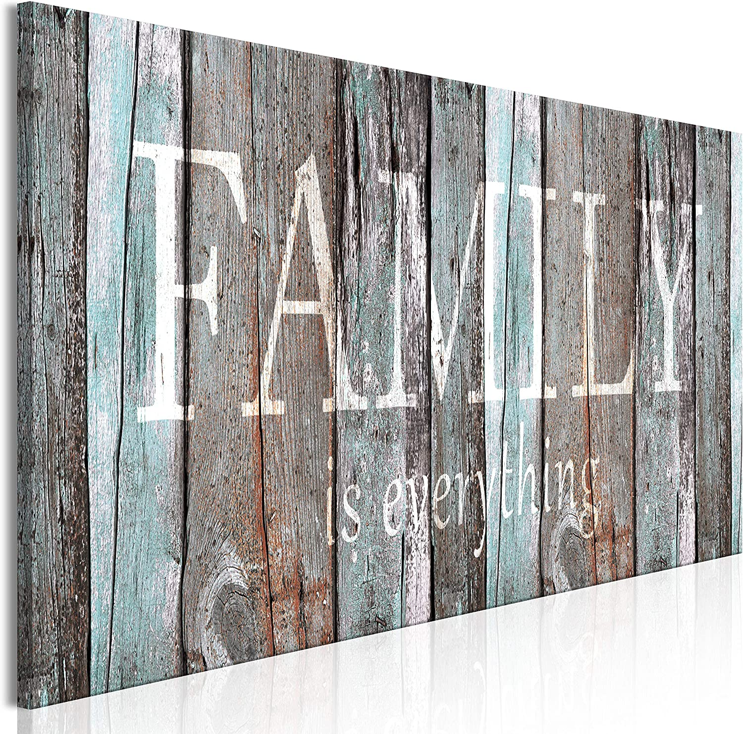 Amazon Com Artgeist Canvas Wall Art Print Quotes Family 120x40 Cm 47 2 X15 7 1 Pcs Home Decor Framed Stretched Picture Photo Painting Artwork Image Family House Faux Wood M A 0956 B A Posters Prints
