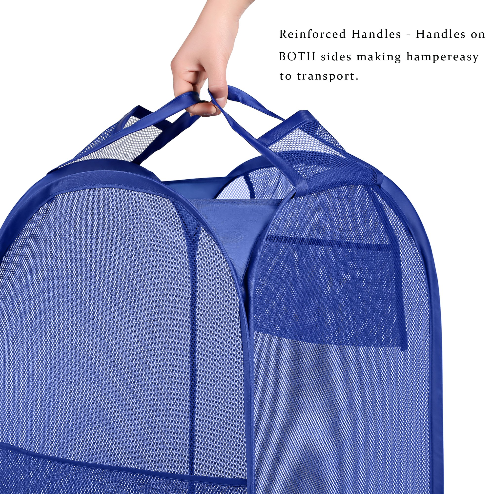 Bagail 2-Pack Pop-up Mesh Laundry Hamper with Reinforced Carry Handles,Foldable Collapsible Laundry Basket with Side Pocket by BAGAIL (Image #5)