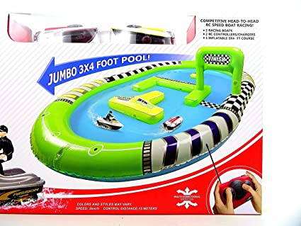 Paradise Treasures Rc Racing Boat Battle Set Remote Control Speed Boat Racing Set With Inflatable Indoor Outdoor Pool