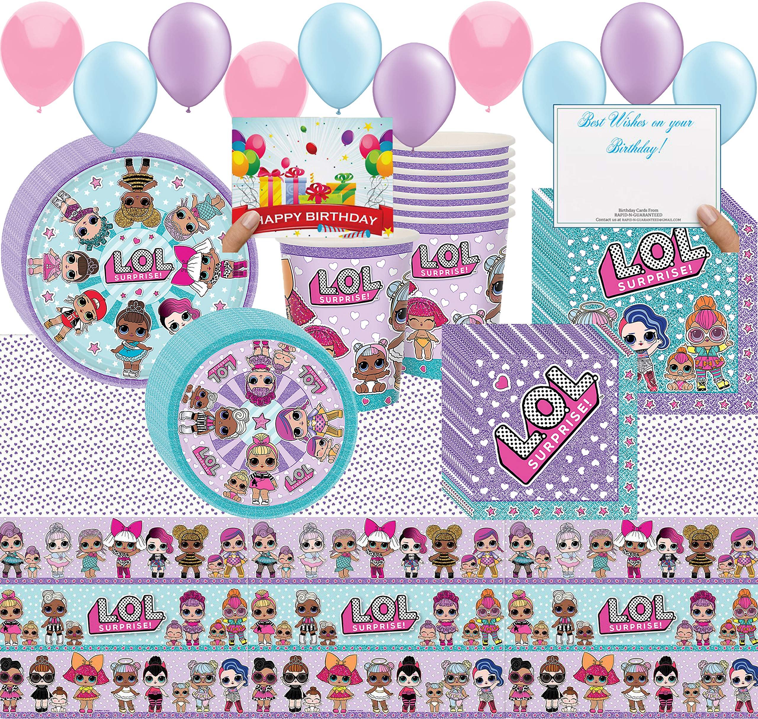 lol party Supplies Girl Birthday Decorations Cups, Plates, Napkins, Balloons, Table Cover Bundle (Party Pack Bundle)