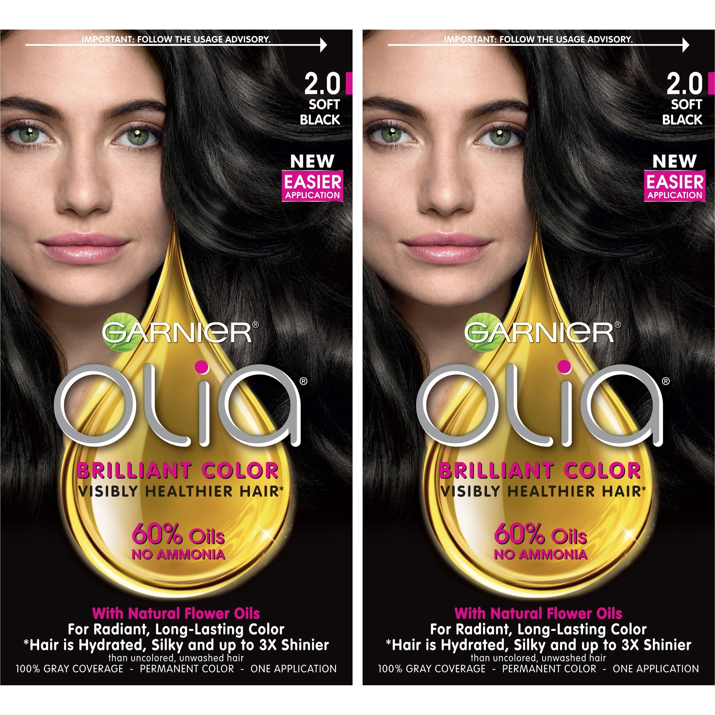 Garnier Hair Color Olia Oil Powered Permanent, 2.0 Soft Black, 2 Count