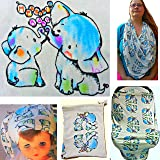 Baby Car Seat Canopy / Nursing Cover Set by Heartful Baby - Boy, Girl Babies - Unisex Multi-Purpose Cover for Breastfeeding, Stroller, High Chair - Use as Scarf or Blanket - BONUS Tote Bag + Baby Hat!