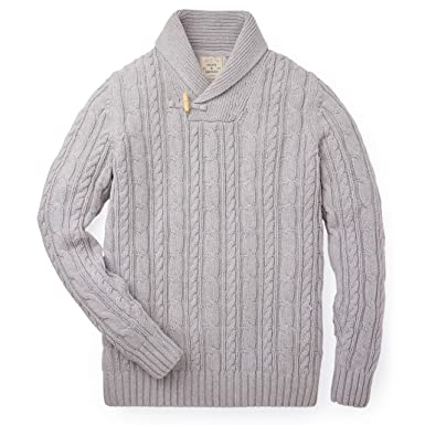 18a897c99a2a5a Hope & Henry Mens Shawl Collar Cable Knit Sweater at Amazon Men's ...