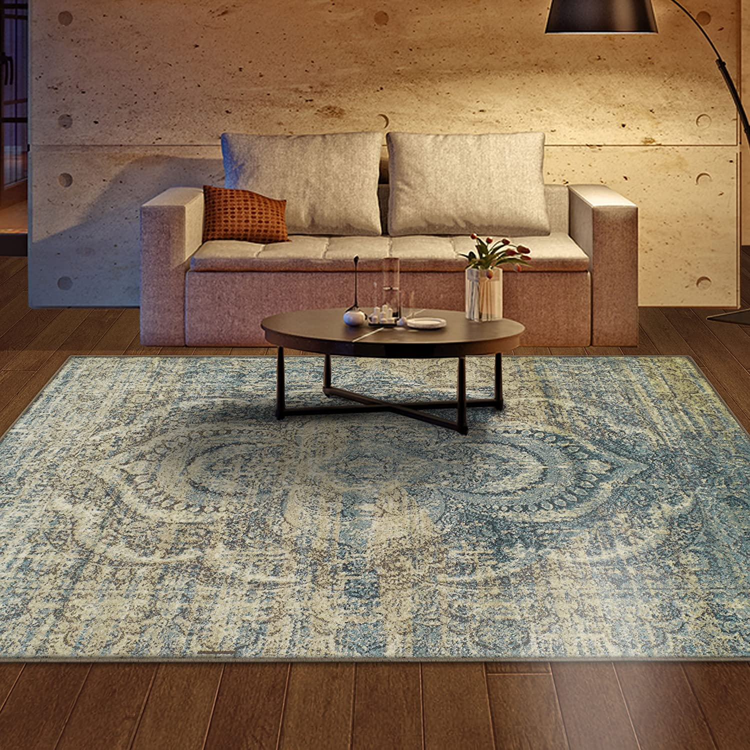 Superior Area Rug 2' x 3' 10mm Pile Height with Jute Backing, Woven Fashionable and Affordable Salford Collection, Blue-Beige 2X3RUG-SALFORD