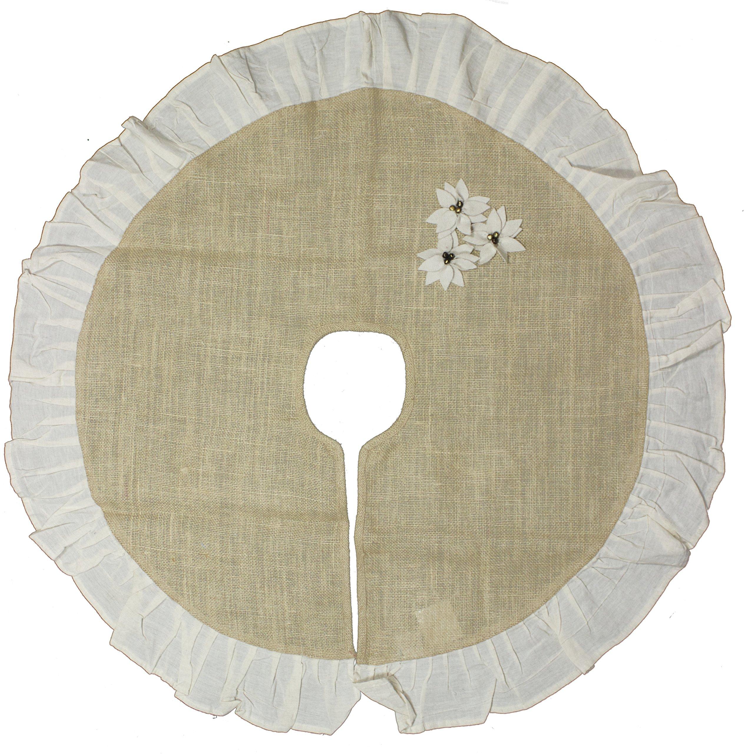 Burlap Poinsettia Tree Skirt w/Cream Ruffle (36'')
