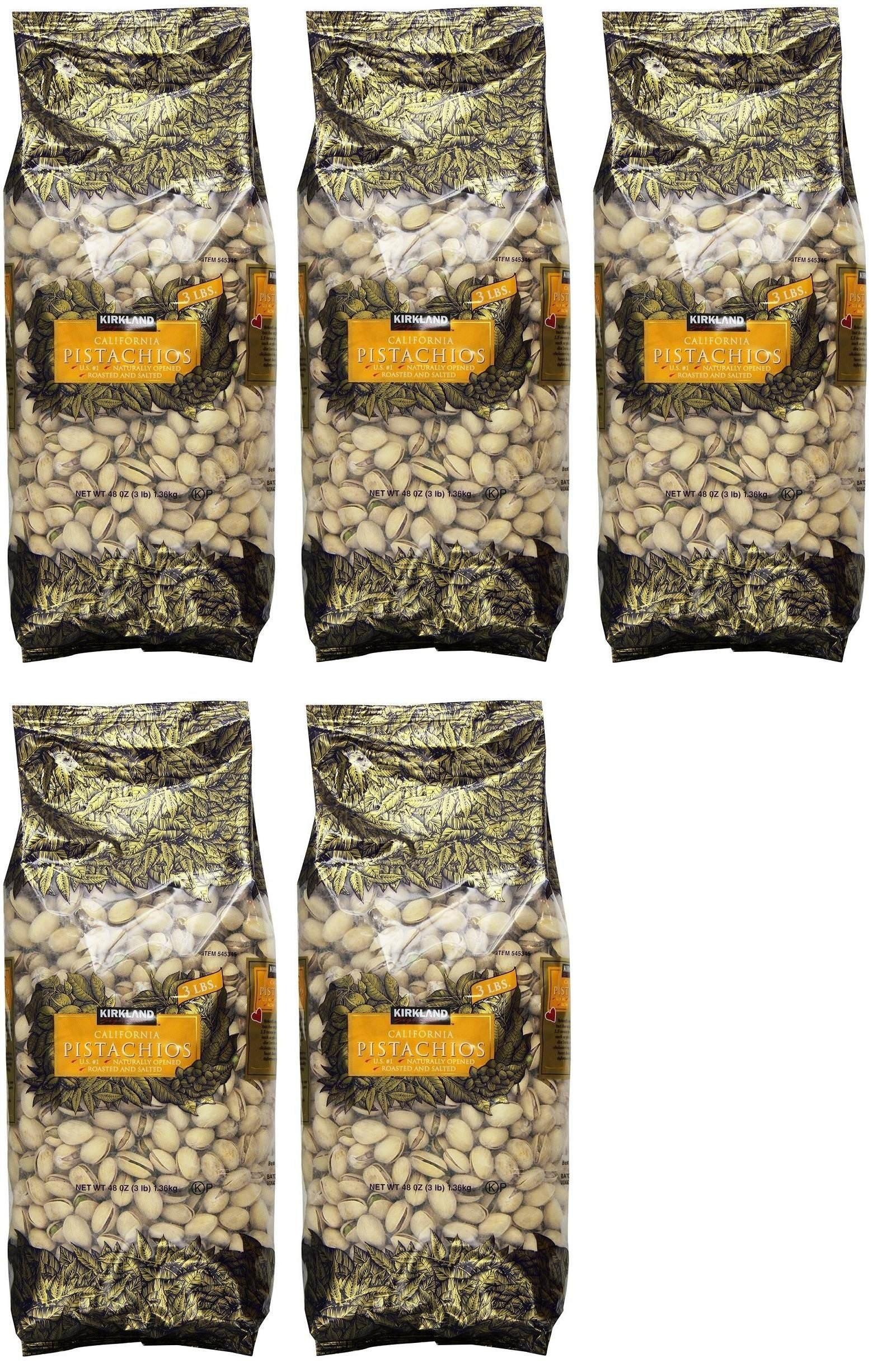 Kirkland Signature In Shell Pistachios, 5 Pack (3 Pound)