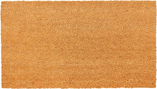 New KAF Home Coir Doormat with Heavy-Duty, Weather Resistant, Non-Slip PVC Backing 17 by 30 Inches, 0.6 Inch Pile Height Perfect for Indoor and Outdoor Use Blank