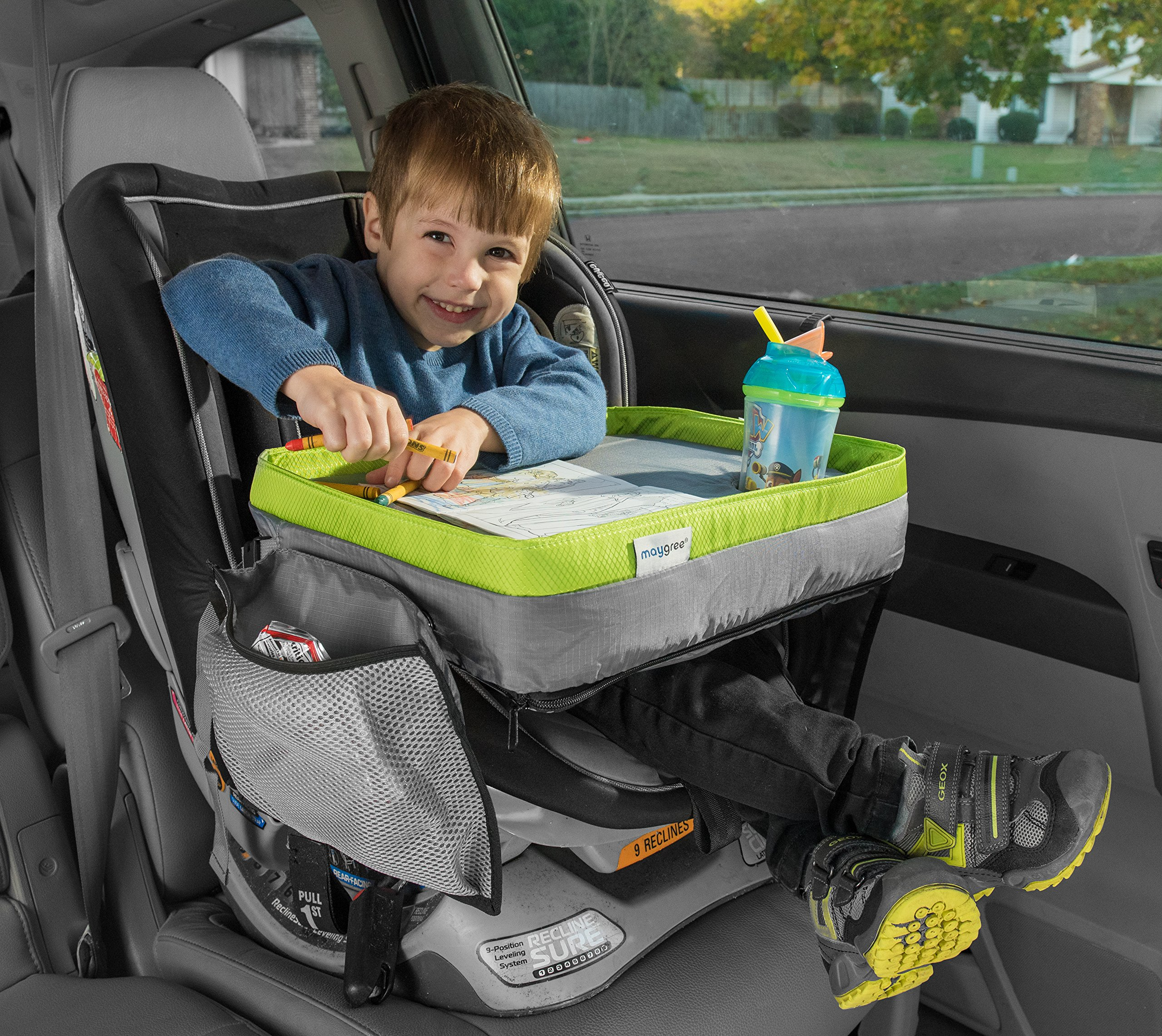 Kids Travel Tray - Soft and Sturdy Portable Lap Activity and Snack Desk for Cars, Planes and Strollers - Extra Deep Cup Holder, Reinforced Lip - Carry as Backpack or Messenger Bag - by Maygree by Maygree