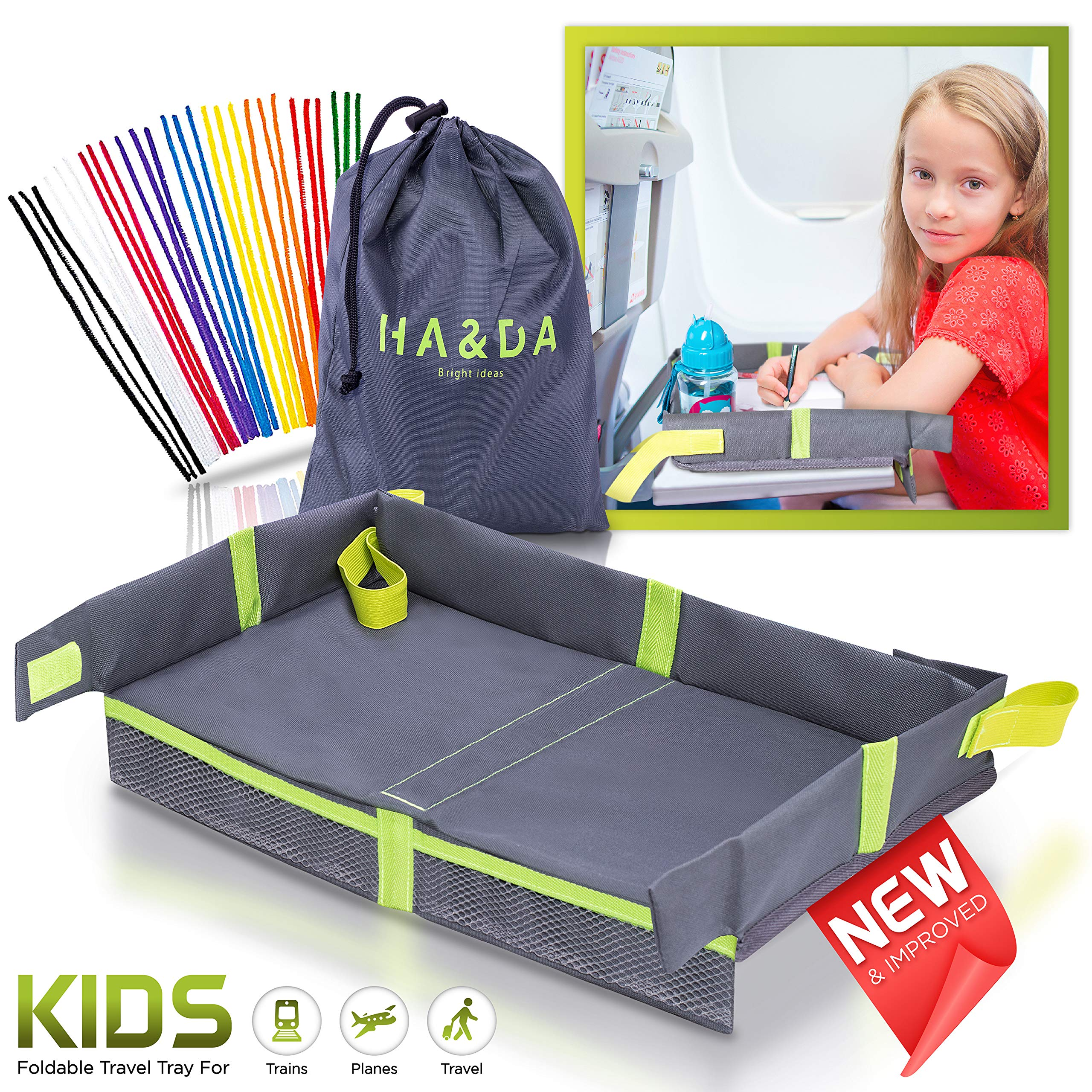 Foldable Kids Travel Tray for Airplane Travel Activities and Games, Use on Plane/Train Tray Table, Toddlers and Children, Unisex - Compact Light Portable - W/Fun Chenille Pipe Cleaners for DIY by Ha&Da