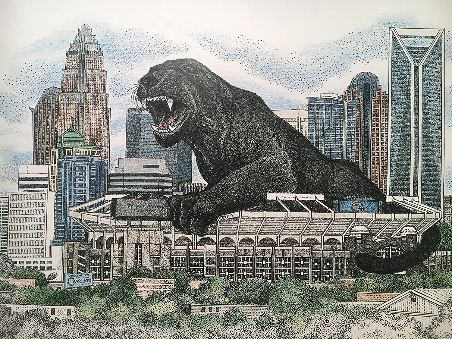 Panther Country 11x17 size - pen and ink print with panther over Charlotte skyline