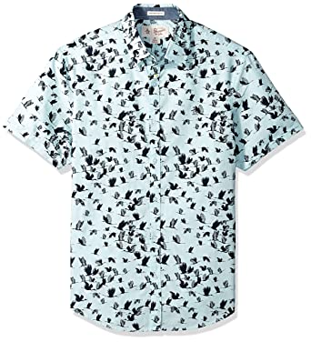 70355eb7 Original Penguin Men's Short Sleeve Flying Birds Shirt, Blue Glow, Small