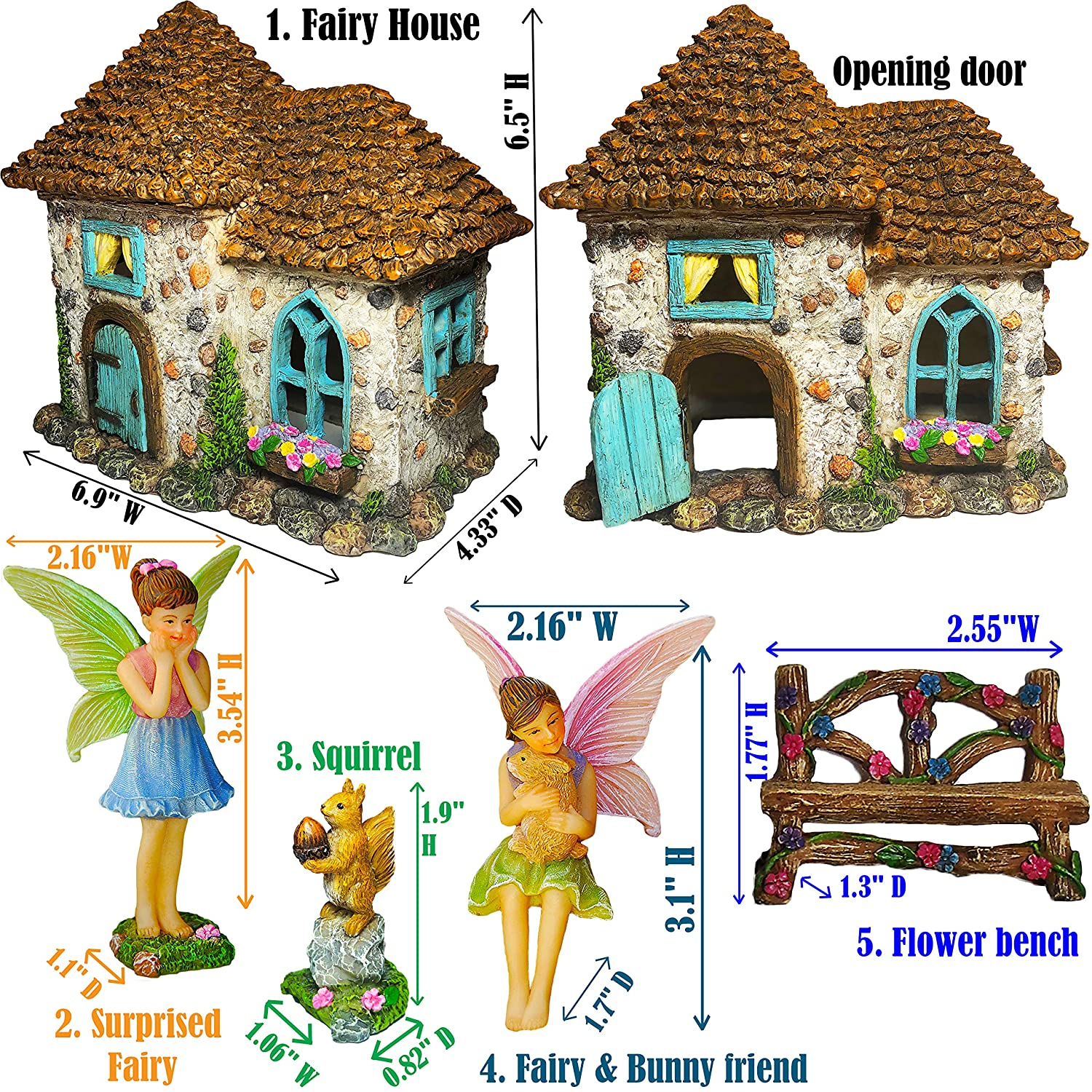Set of 5 pcs Mood Lab Fairy Garden Fairy House Miniature Fairy Garden Figurines with Accessories Hand Painted Set for Outdoor or House Decor