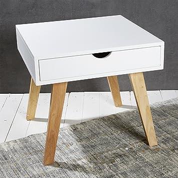 Beistelltisch mit schublade modern  Couchtisch Beistelltisch weiß 55 x 55 x 50 cm Holzbeine Natur ...