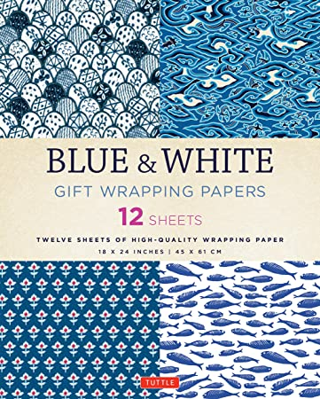 Topiary Gift Wrap Chinoiserie Decor Wrapping Paper Blue White Green Gift Wrap Sheets