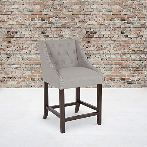 EMMA OLIVER 24″ H Tufted Walnut Counter Height Stool