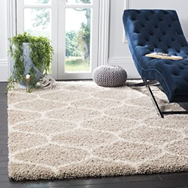 Safavieh Hudson Shag Collection SGH280S Beige and Ivory Moroccan Ogee Plush Area Rug (6' x 9')
