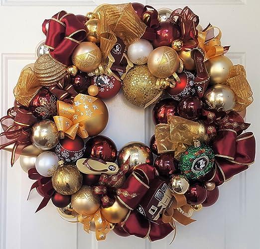 "22"" Florida State FSU Seminoles Glass Ornament Wreath Christmas  Football Holiday; Wreath; Collegiate - Amazon.com: 22"