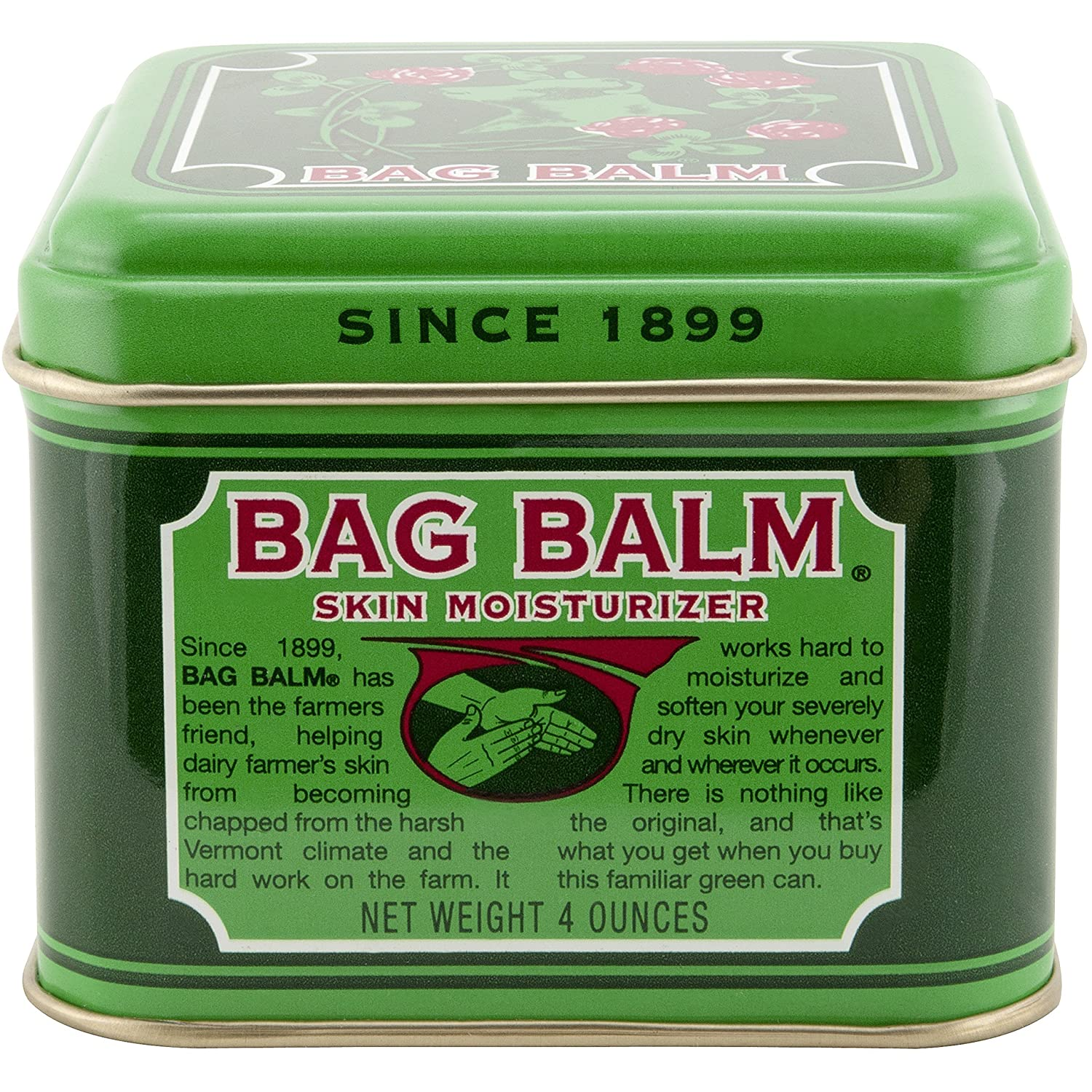 Vermont's Original Bag Balm Skin Moisturizer, 4 Ounce Tin, Moisturizing Ointment for Dry Skin that can Crack Split or Chafe on Hands Feet Elbows Knees Shoulders and More Everready First Aid