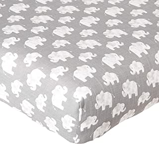 product image for Glenna Jean Crib Elephant Herd Stone Fitted Sheet, Grey/White, Mini