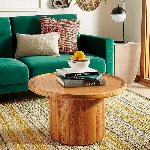 Safavieh Home Devin Natural Pedestal Round Coffee Table