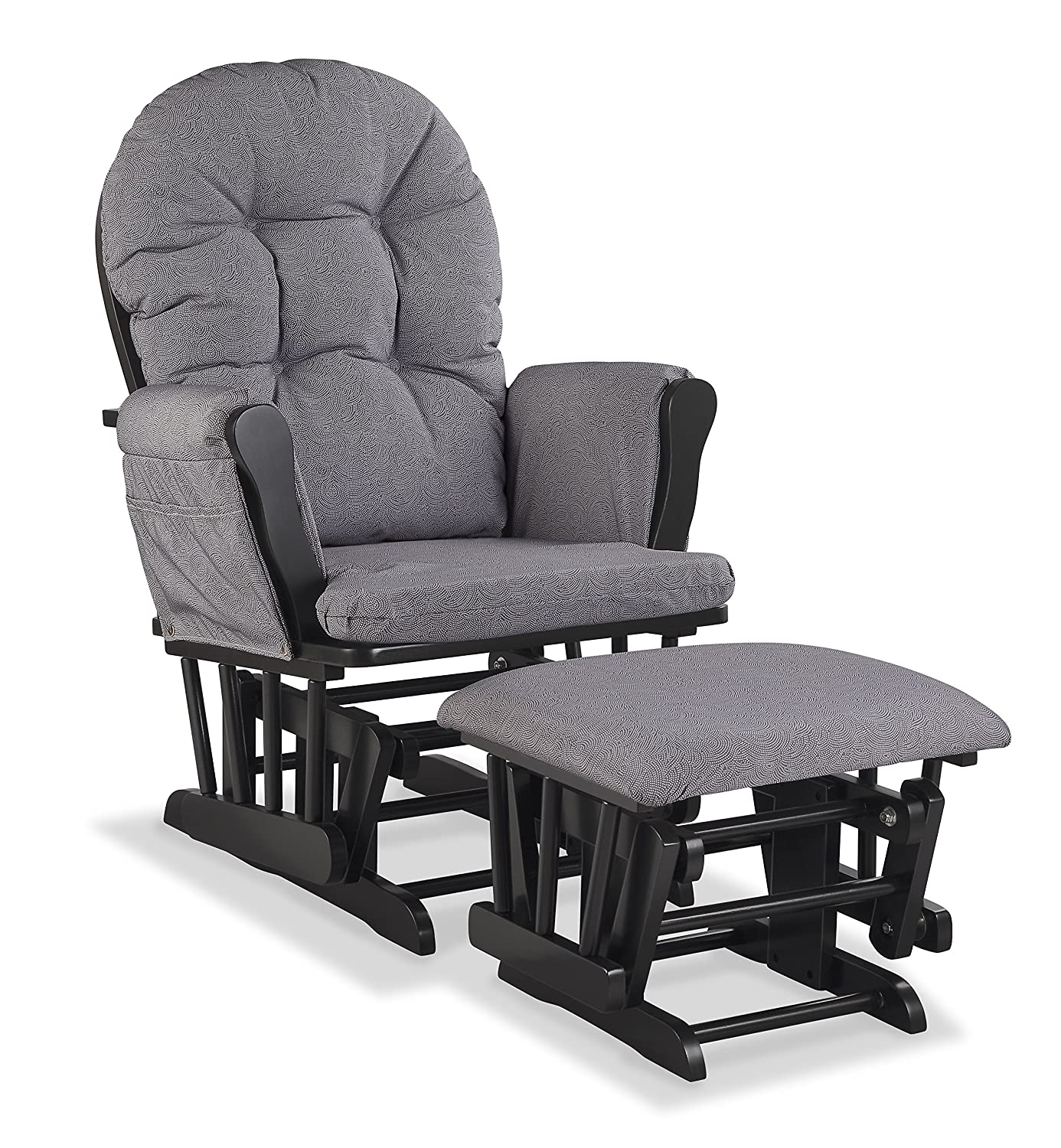 Storkcraft Hoop Custom Glider and Ottoman, Black/Slate Gray Swirl 06550-615B